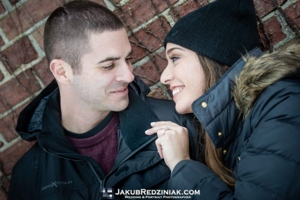 closeup of couple engagement session in central park