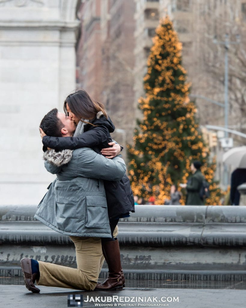she said yes to proposal in washington square park proposal in winter with christmas tree