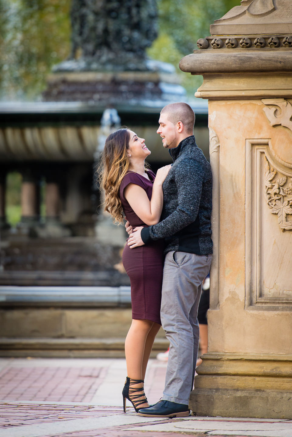 couple engagement session by bethesda fountain in central park new york city
