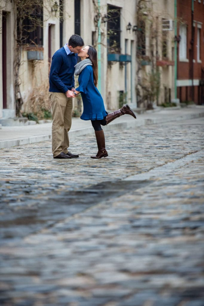 couple engagement session after proposal in washington mews street downtown manhattan new york city