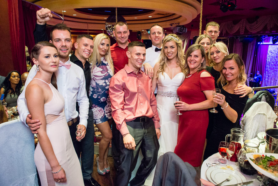 group shot of guests at wedding in romanoff restaurant in coney island brooklyn ny