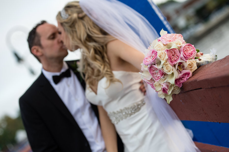bride and groom photo session in sheepshead bay