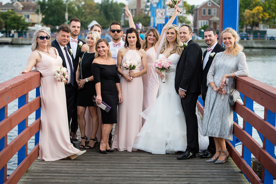 family group photo in sheepshead bay on the blue pier