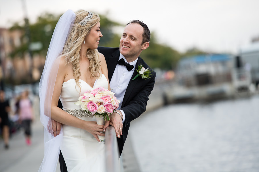 bride and groom photo session in sheepshead bay by the water