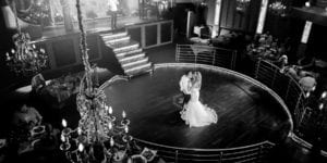 bride and groom first dance at romanoff restaurant in coney island taken from balcony and live music playing