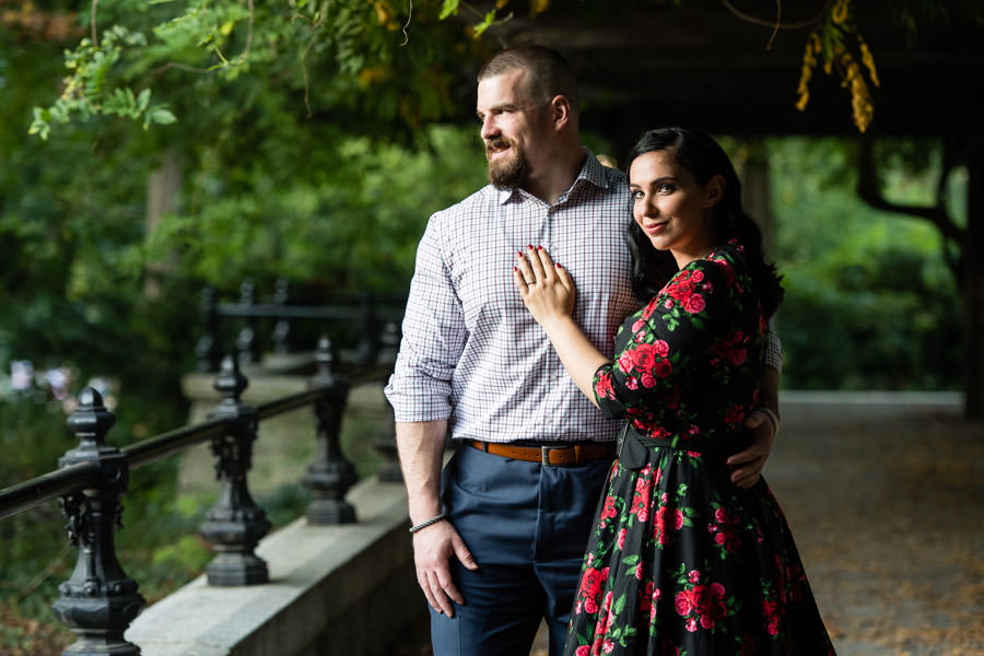 couple posing in central park during engagement session