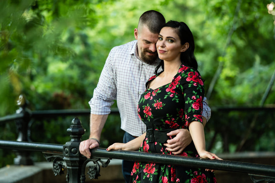 engagement session pose for couple in central park