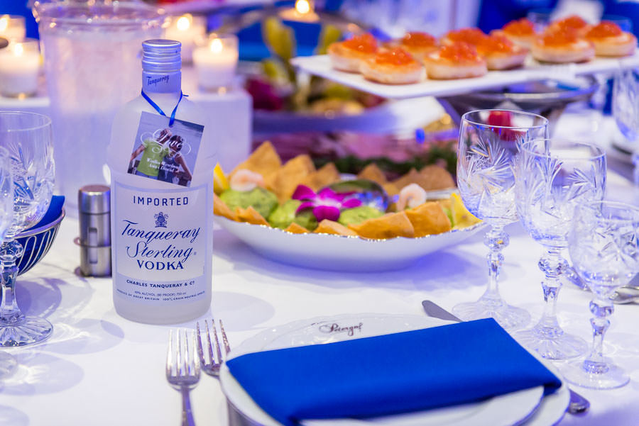 detail photo of wedding venue table shot of wedding vodka