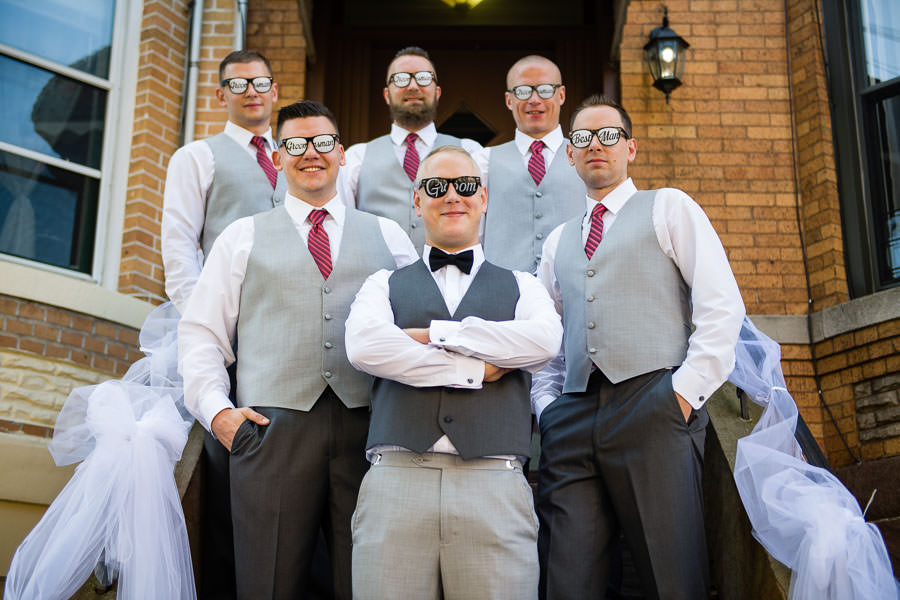 groom and groomsmen group photo with funny glasses in ridgewood queens