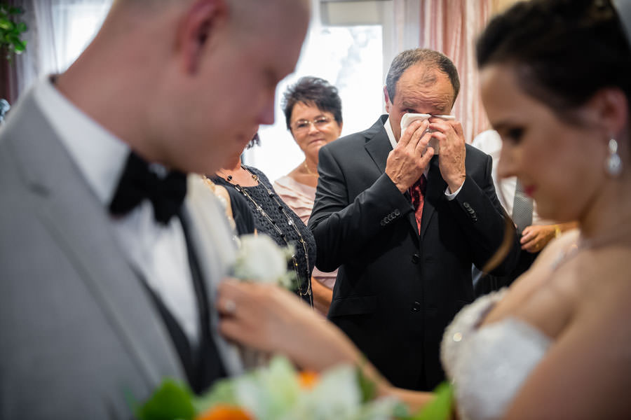 bride's father crying from emotion on wedding day