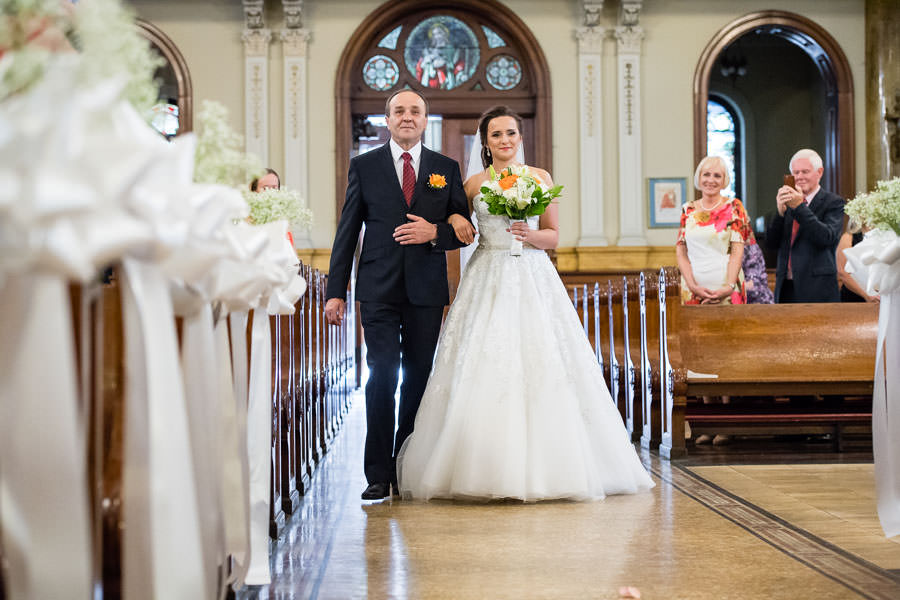 father of bride walking her down the aisle in st aloysius church ridgewood ny