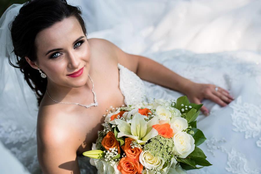 beautiful bride portrait in fort totten park