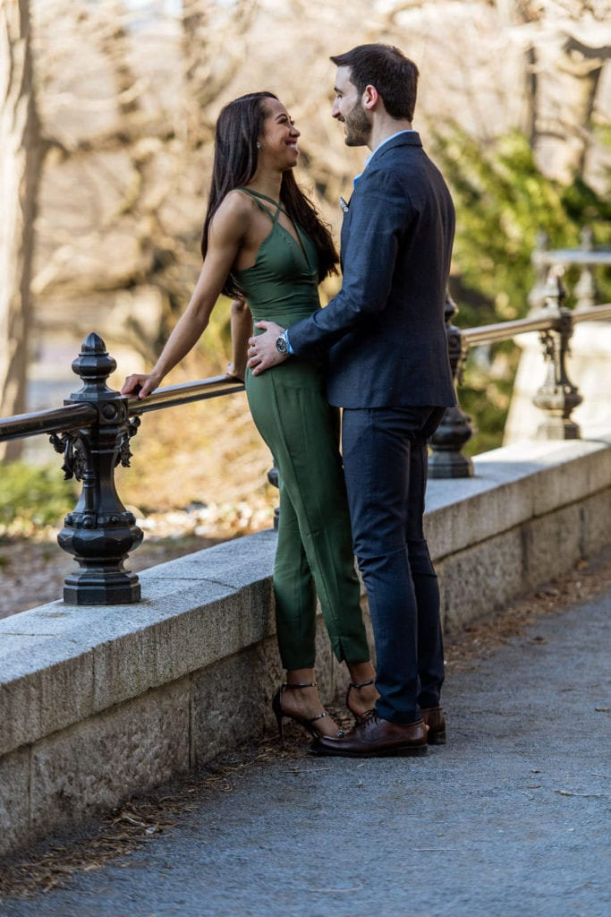engagement couple in central park by the mall