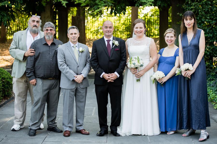 wedding group photo at brooklyn botanical garden