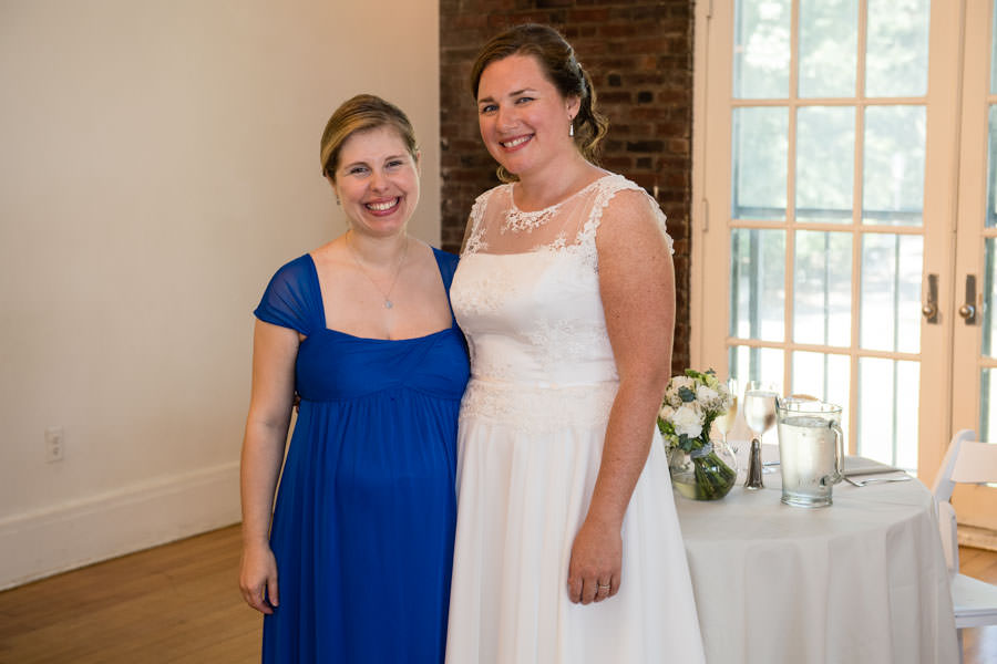 bride and maid of honor at picnic house in prospect park