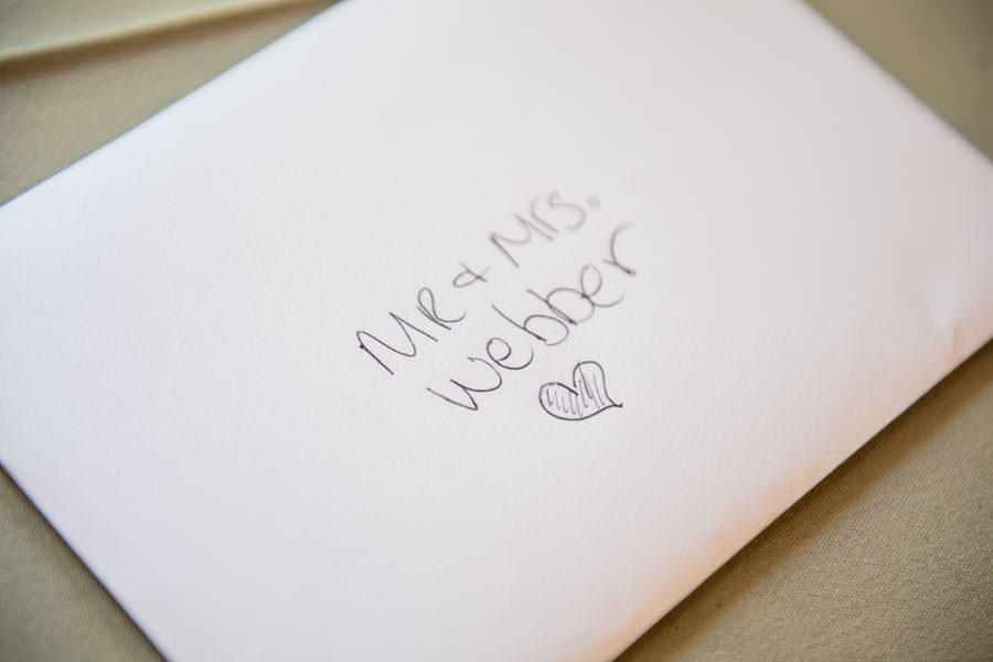 envelope detail shot gift for bride and groom