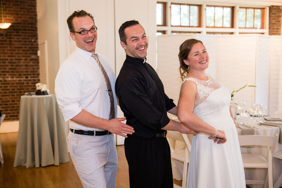 bride and her brothers at picnic house in prospect park