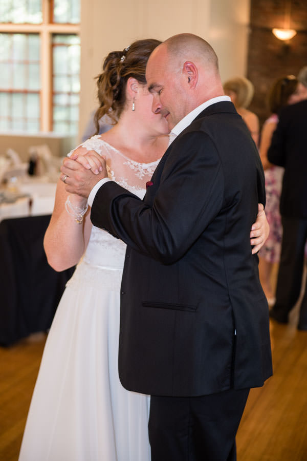 bride and groom first dance at picnic house in prospect park