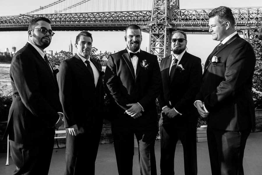 serious photo of groom and groomsmen at wedding at Giando on the water in Brooklyn, NY