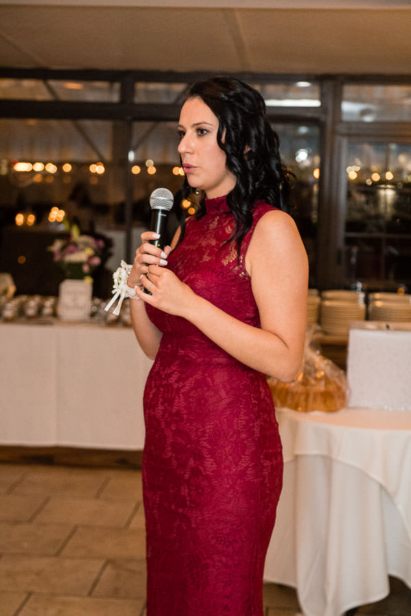 maid of honor speech at wedding at giando on the water