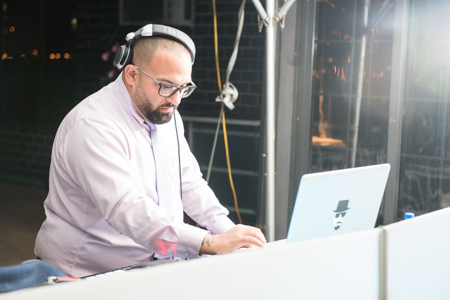 Nick Bivona DJ from React Events NYC at wedding at Giando on the Water