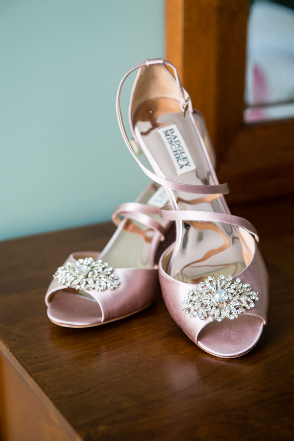 Badgley Mischka shoes for bride at wedding detail photo