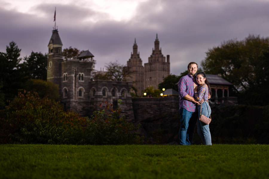 belvedere castle engagement session during sunset