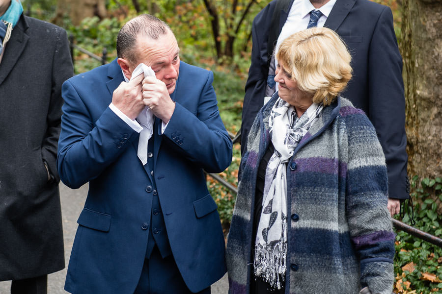 father of the bride cries at central park wedding in the fall