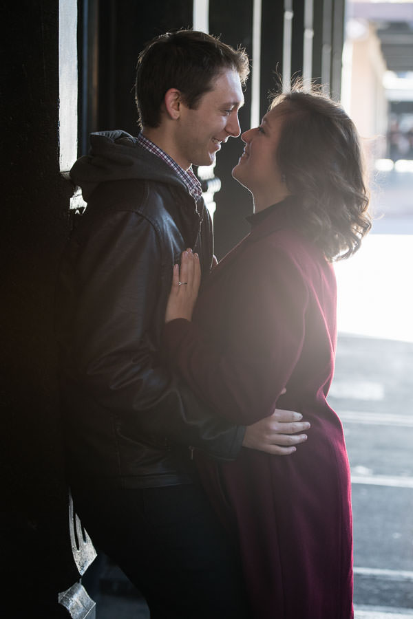 engaged couple gets close in meatpacking district engagement session