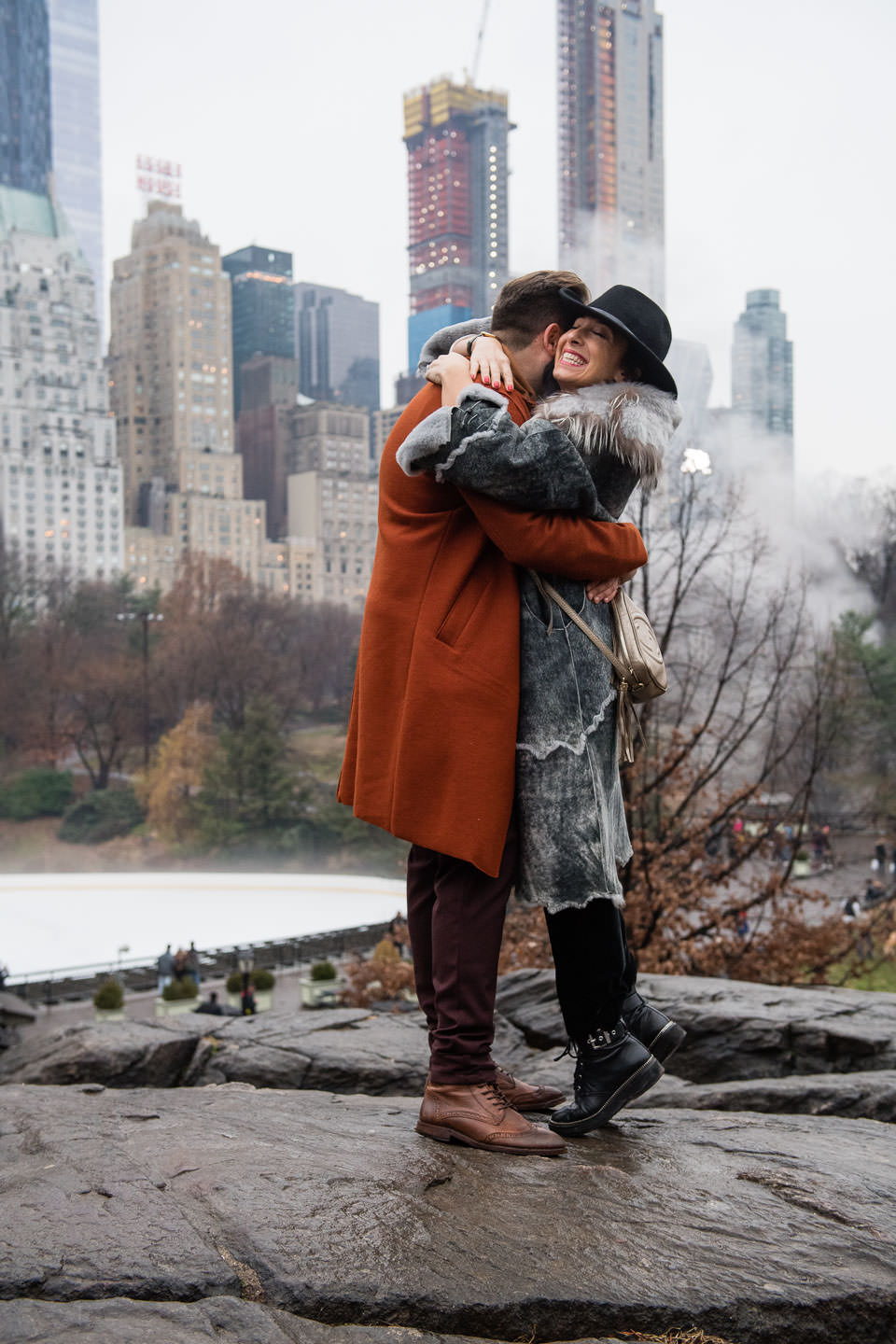 girl is super happy after proposal in central park NYC paparazzi proposals