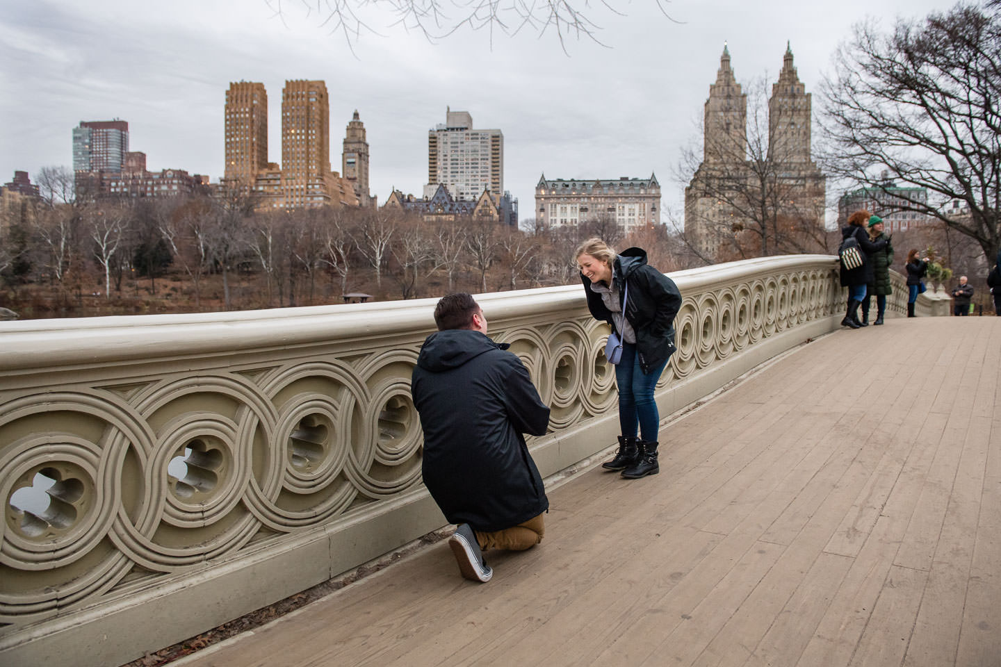 proposal on bow bridge in central park