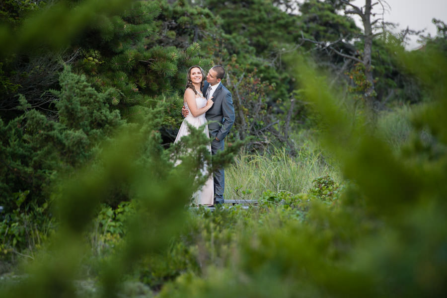 creative photo between the bushes of engaged couple