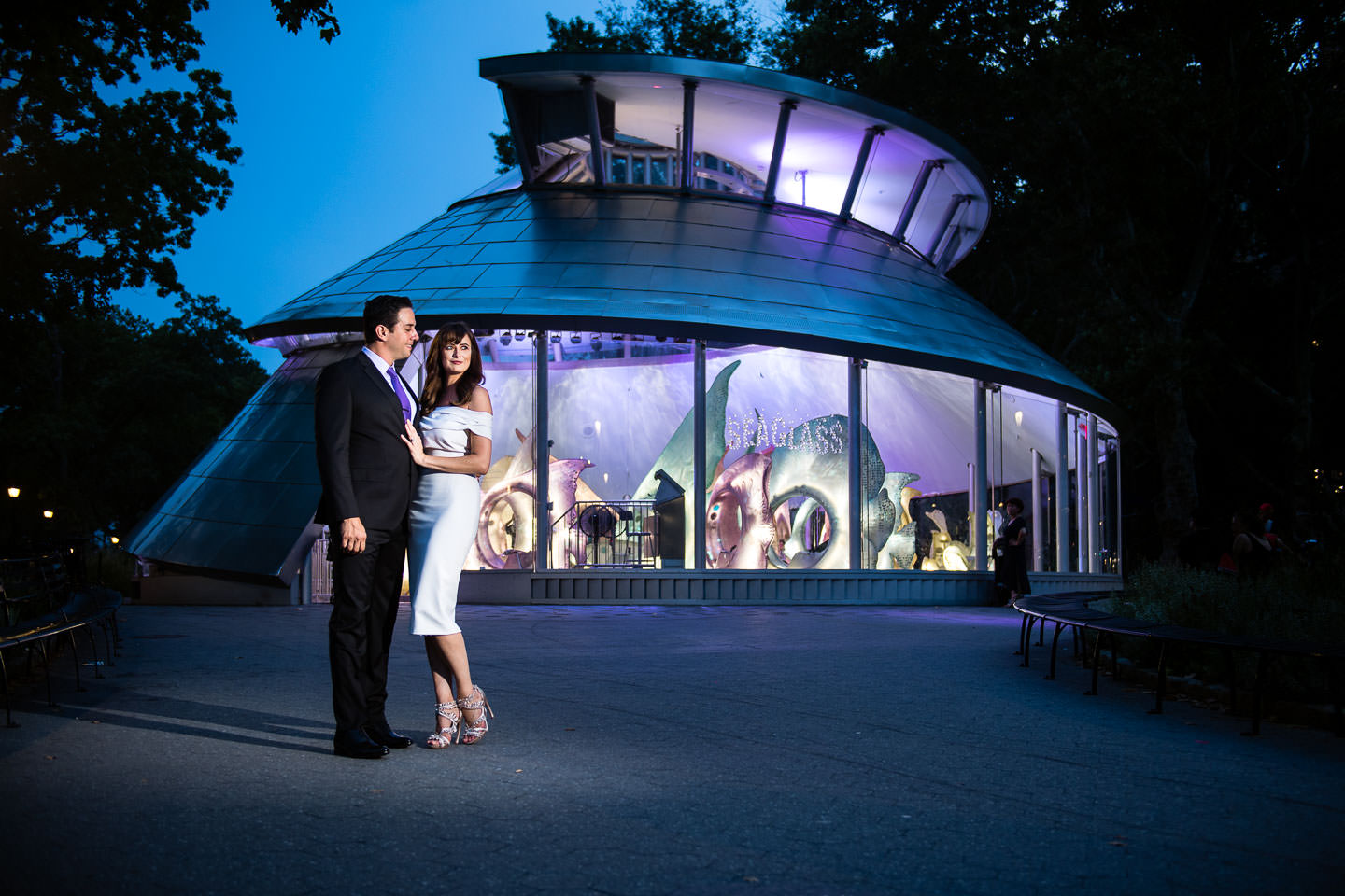 engaged couple at seaglass carousel in downtown manhattan