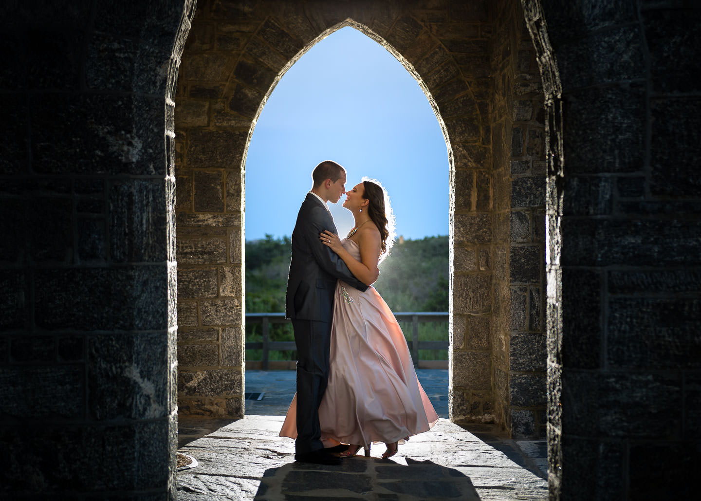 formal engagement session at fire island during sunset