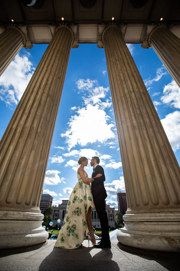 couple during wedding photo shoot on Columbia University's campus