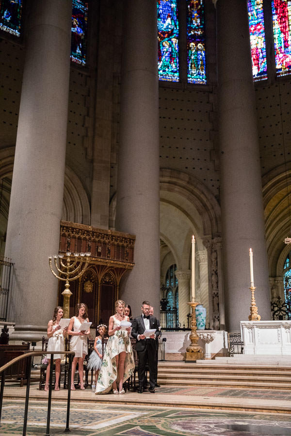 couple standing on the church alter for their wedding day at the Cathedral Church of Saint John the Divine