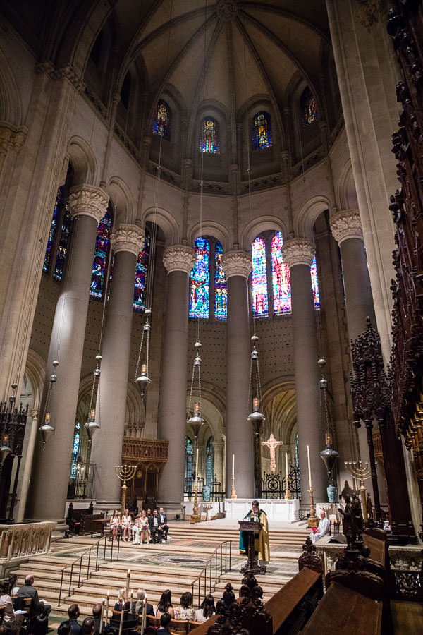 wide view of the inside of The Cathedral of Saint John the Divine in new york city