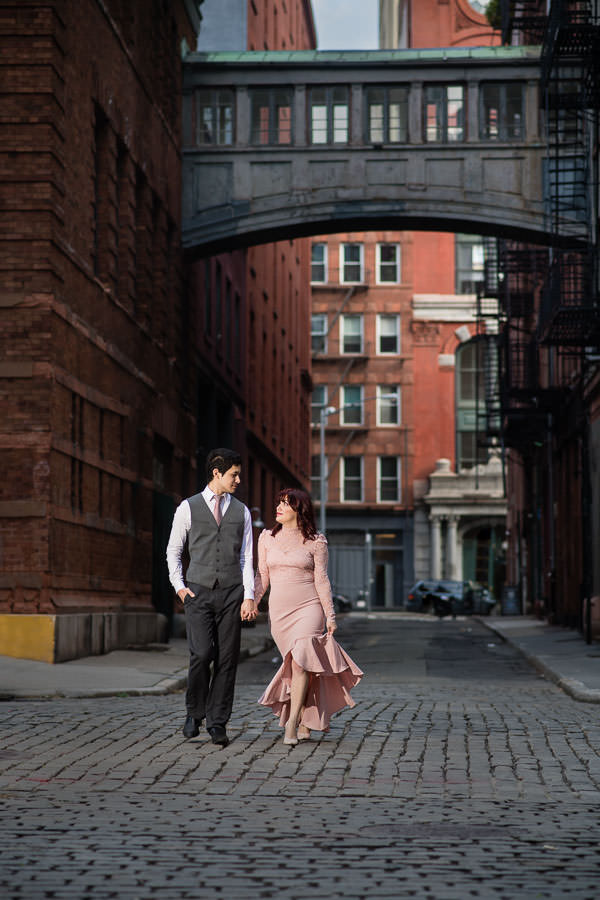 engagement session by state street bridge in tribeca nyc