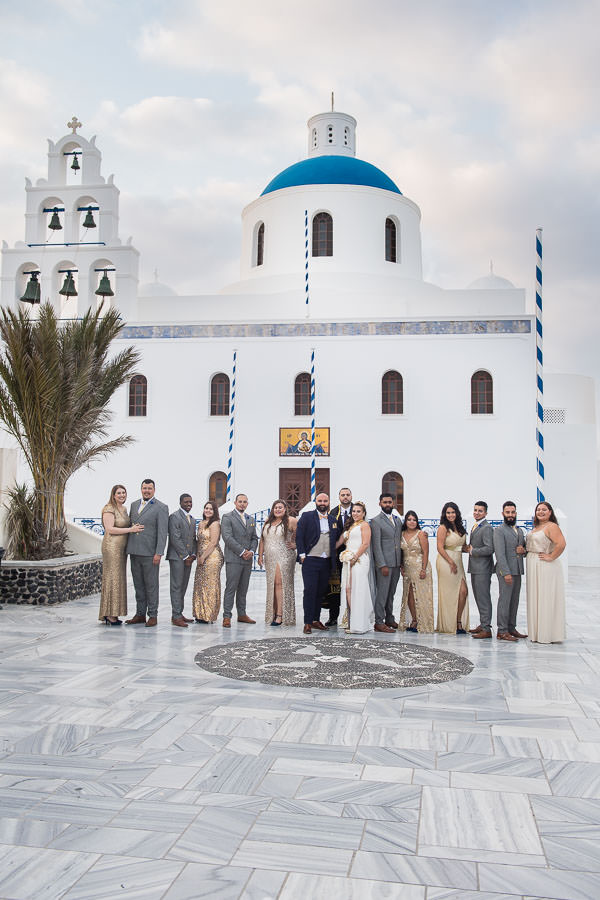 bridal party in santorini greece for destination wedding