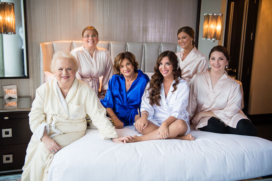 bride and her bride's maids at the mandarin oriental hotel in nyc