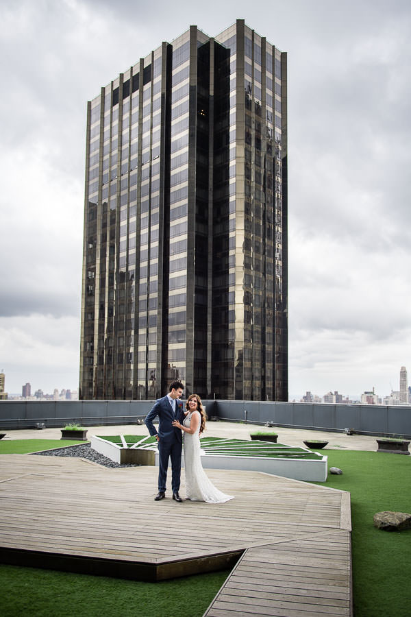 bride and groom portrait session on terrace on the mandarin oriental hotel in nyc