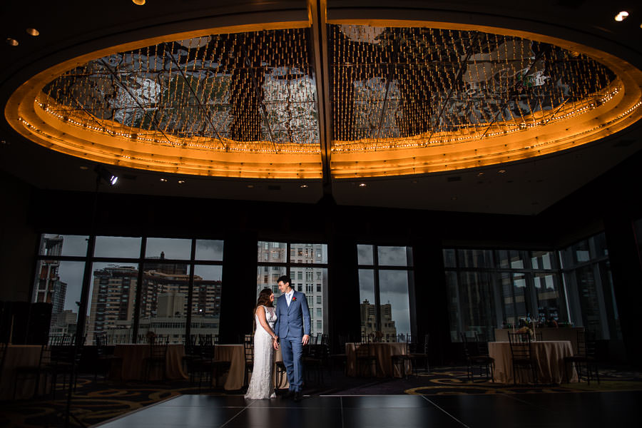 bride and groom at mandarin oriental reception hall