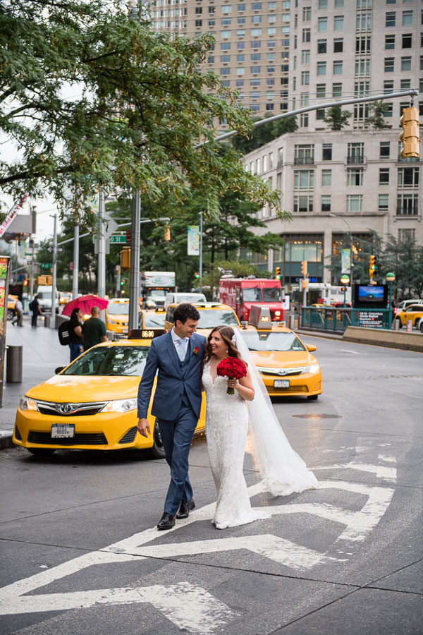 bride and groom portrait session at columbus circle new york city wedding