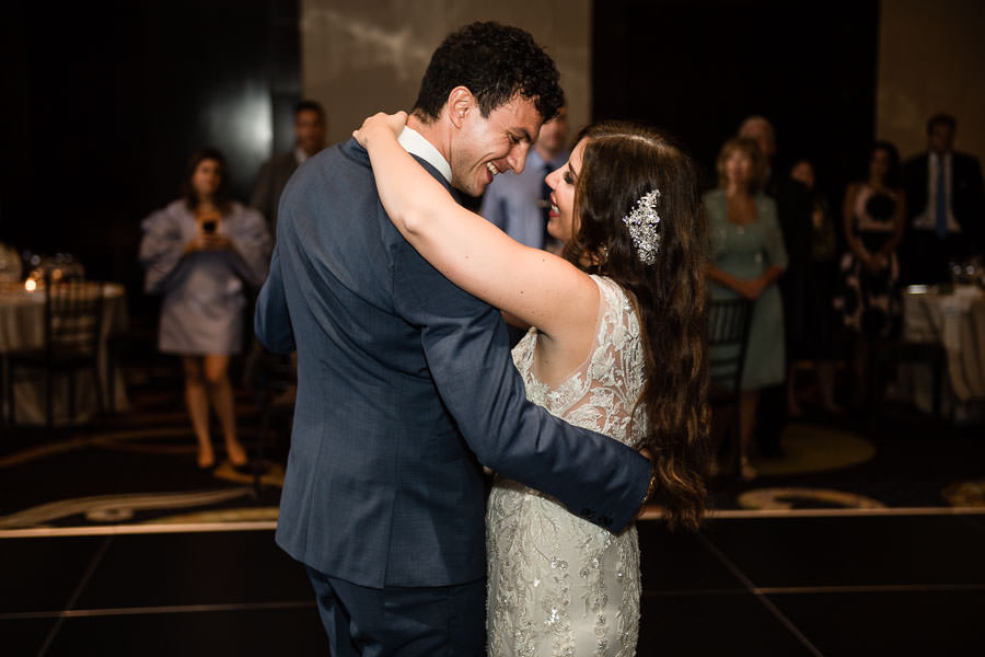 bride and groom first dance at the mandarin oriental in new york city wedding