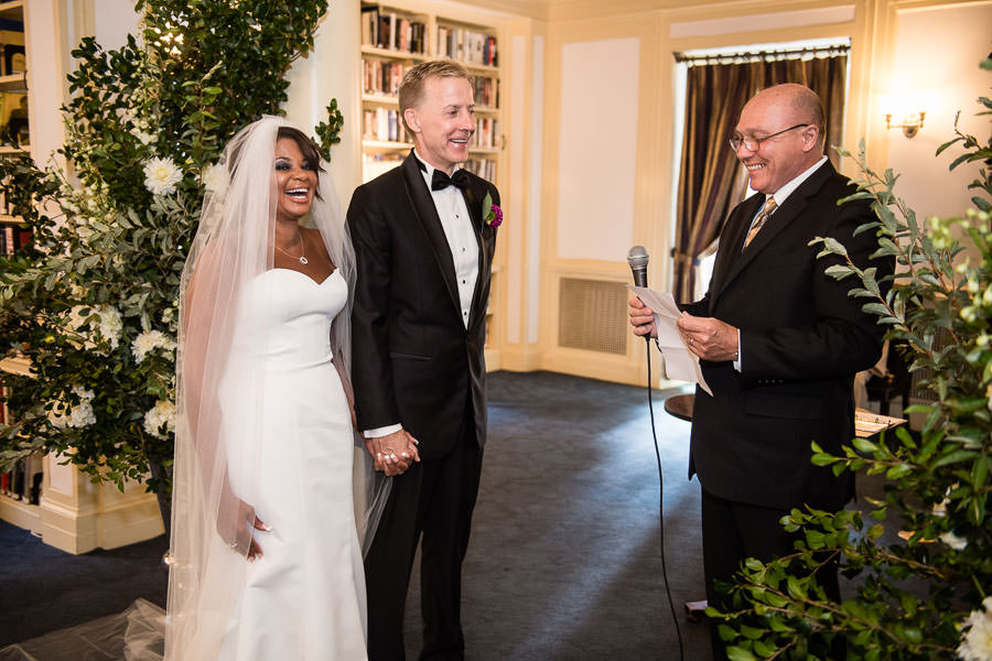 Karen and Bruce walk down the aisle for their wedding at the yale club nyc
