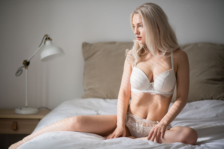 NYC Bridal Boudoir Photography model wearing agent provocateur lingerie as a grooms gift idea