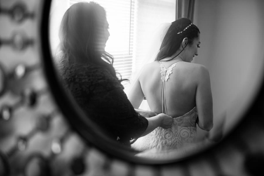 bride getting ready before her wedding at greenpoint loft