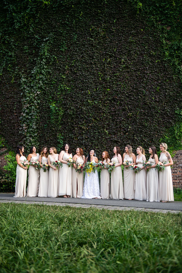 bride's maids at greenpoint loft wedding