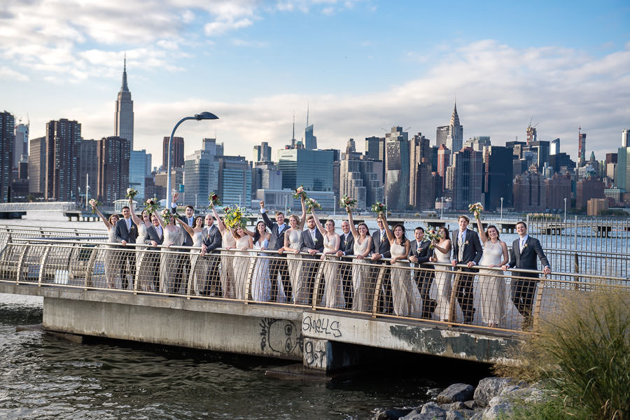 bridal party with nyc skyline in the background