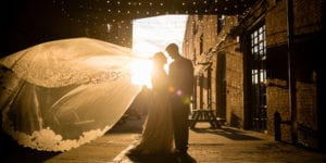 wedding at greenpoint loft in new york city brooklyn bride and groom at sunset